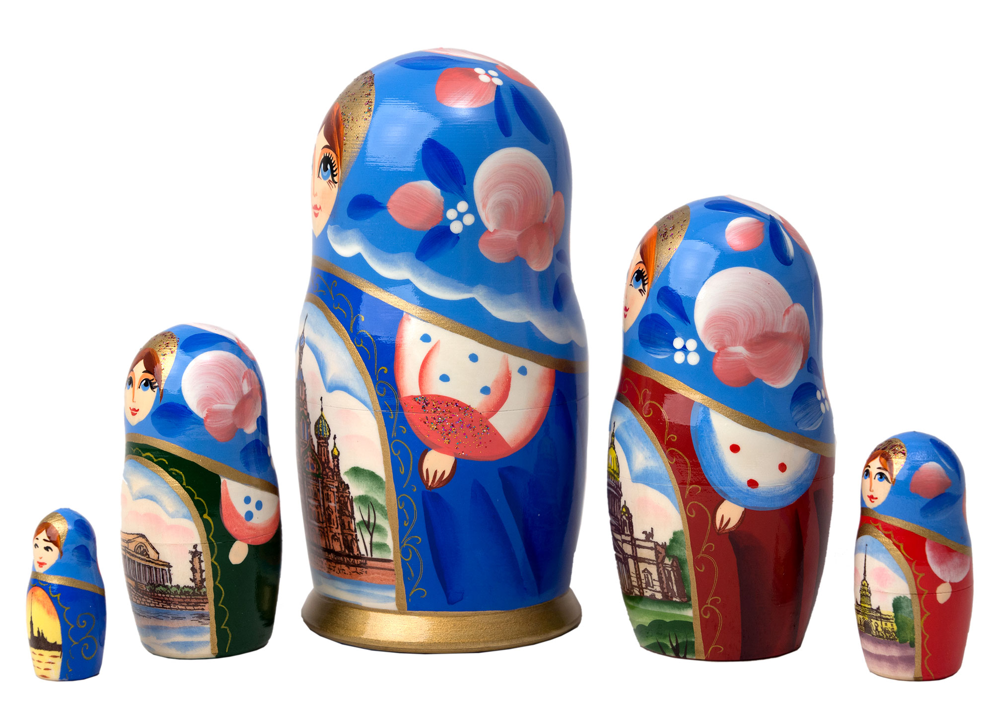 "Buy White Nights of St. Petersburg Nesting Doll 5pc./6"" at GoldenCockerel.com"