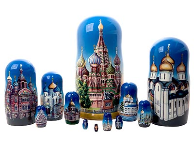 Russian Orthodox Cathedrals Nesting Doll 12pc./11""
