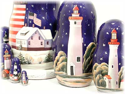 "Buy Lighthouses in the Night Nesting Doll 7pc./8"" at GoldenCockerel.com"
