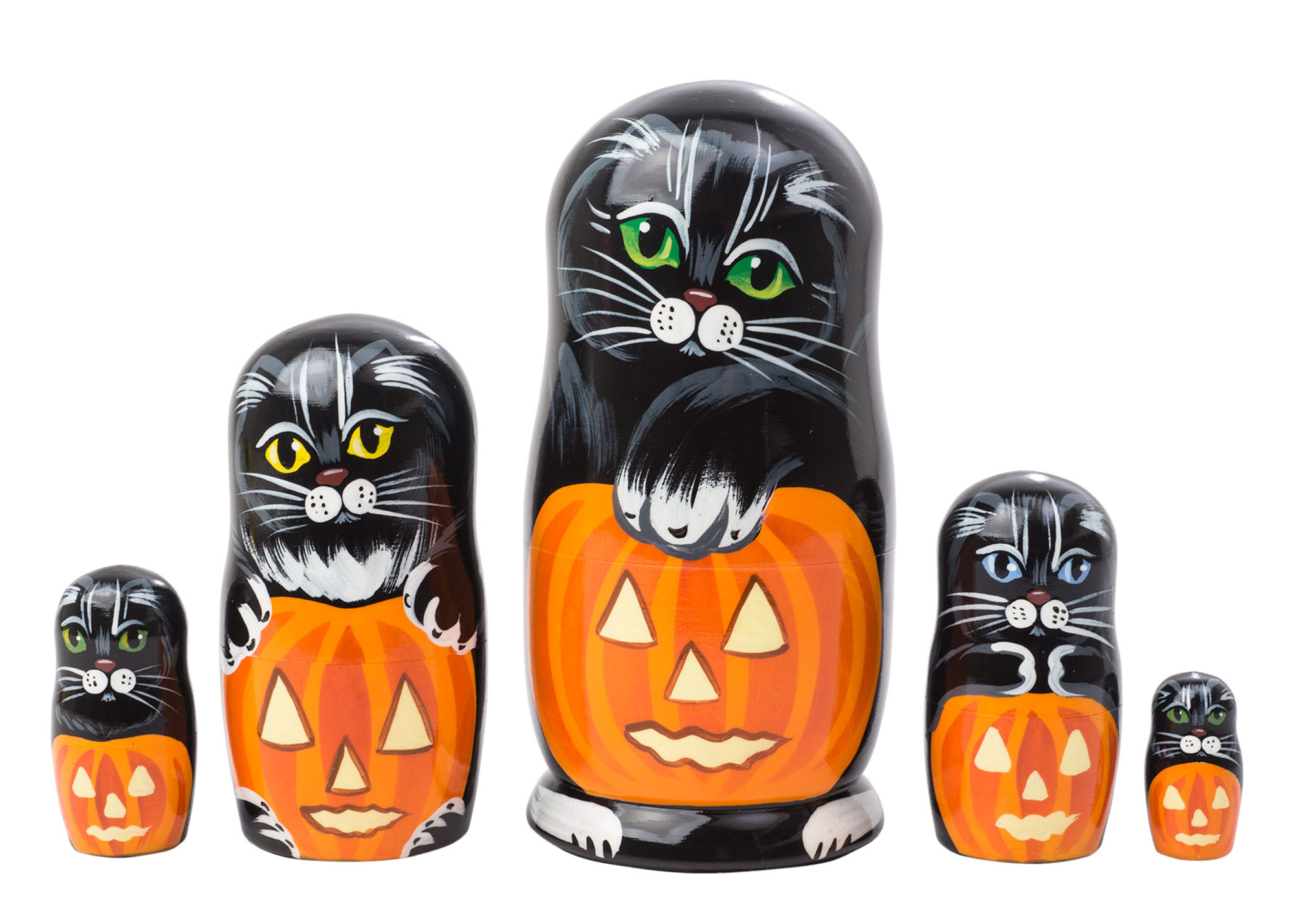 "Buy Halloween Cats Nesting Doll 5pc./5"" at GoldenCockerel.com"