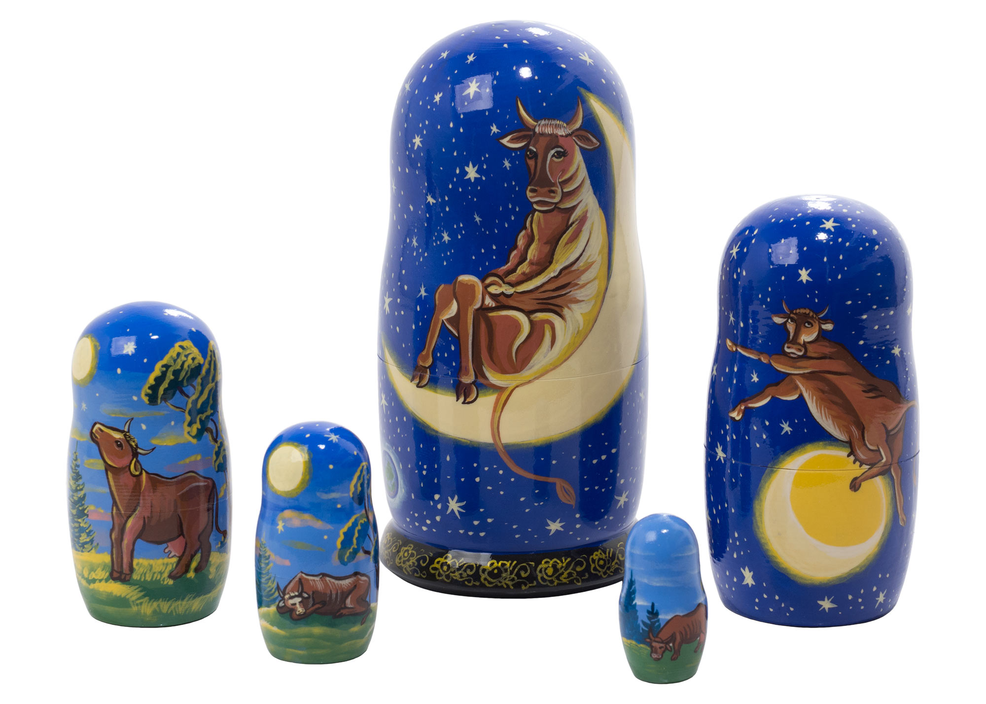 "Buy The Cow that Jumped Over the Moon Nesting Doll 5pc./6"" at GoldenCockerel.com"