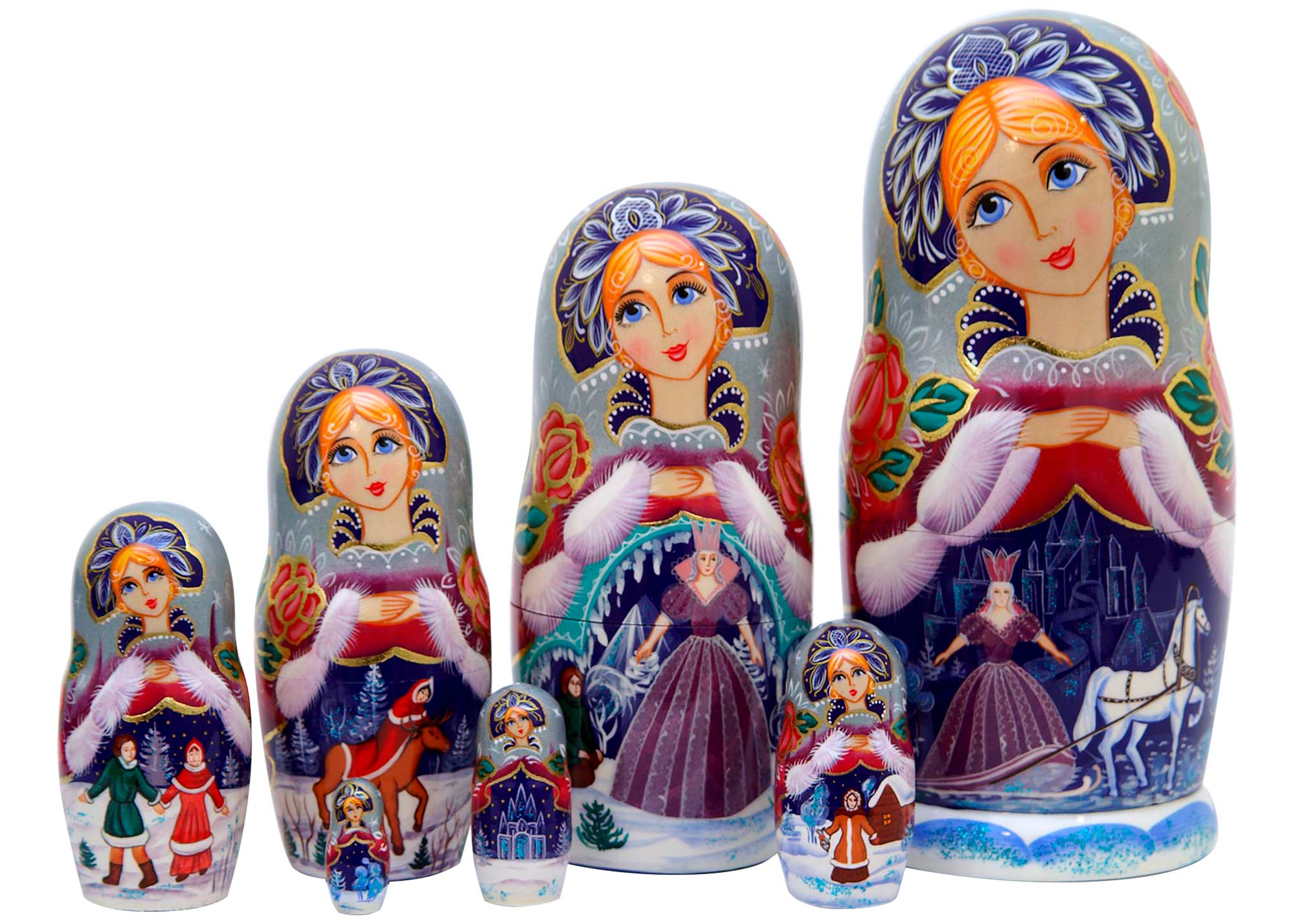 "Buy Snow Queen Nesting Doll 7pc./8"" at GoldenCockerel.com"