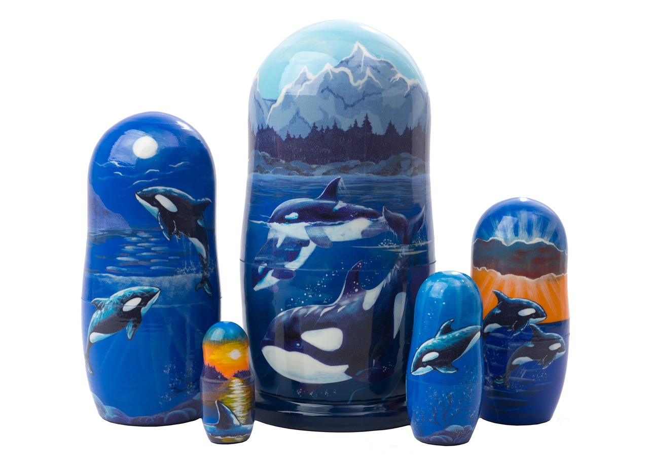 "Buy Scenic Orca Pod Russian Nesting Doll 5pc./6"" at GoldenCockerel.com"