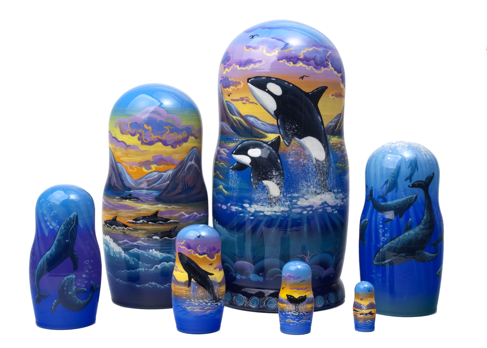 "Buy Whale Watching Nesting Doll 7pc./8""  at GoldenCockerel.com"