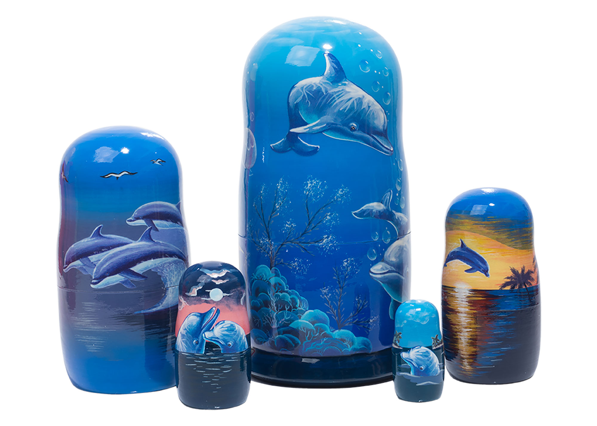 "Buy Scenic Dolphin Pod Russian Nesting Doll 5pc./6"" at GoldenCockerel.com"