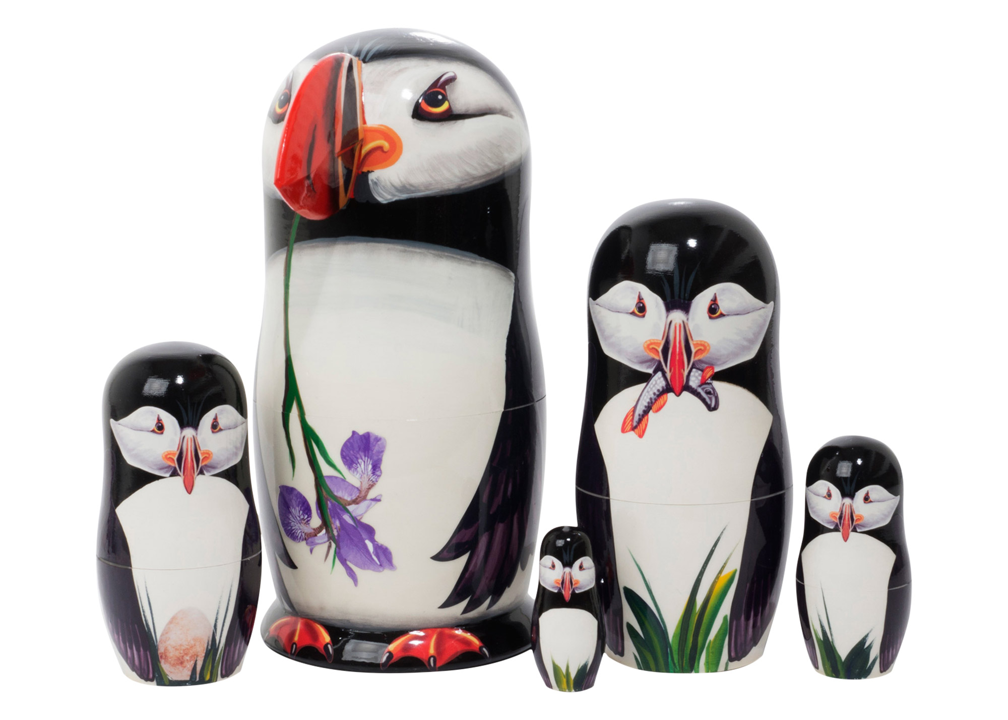 "Buy Making Amends Puffin Nesting Doll w/ 3D Beak 5pc./6"" at GoldenCockerel.com"