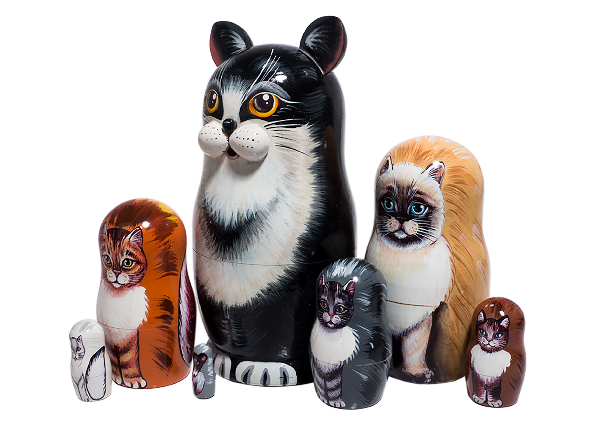 "Buy Black & White Cat Nesting Doll 7pc./7"" at GoldenCockerel.com"