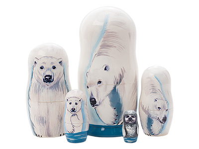 Polar Bear Nesting Doll 5pc./6""