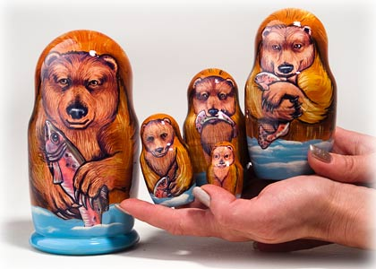 "Buy Alaskan Brown Bear Nesting Doll 5pc./6"" at GoldenCockerel.com"