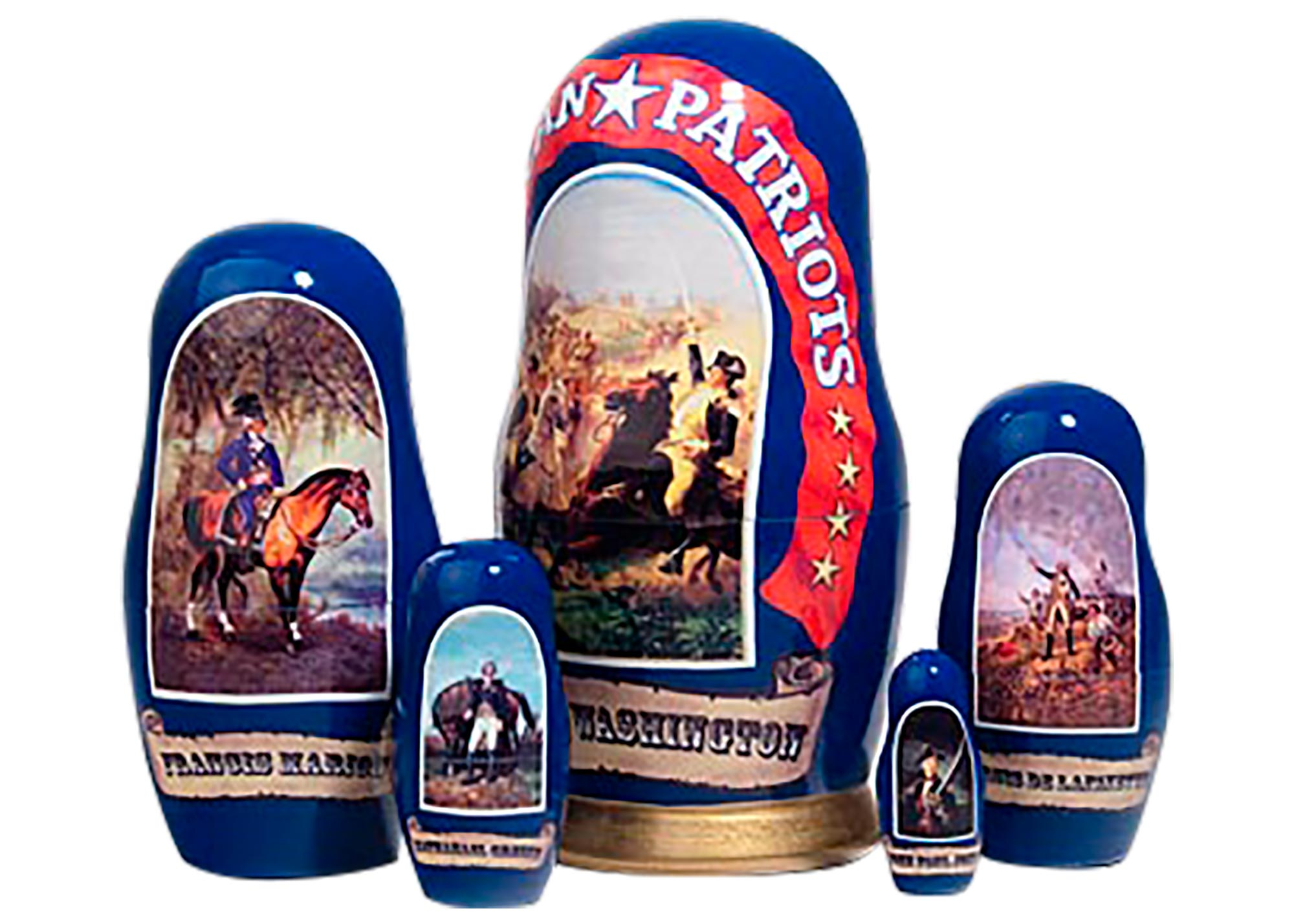 "Buy American Patriots Nesting Doll 5pc./6"" Lim. Ed. to 500 at GoldenCockerel.com"