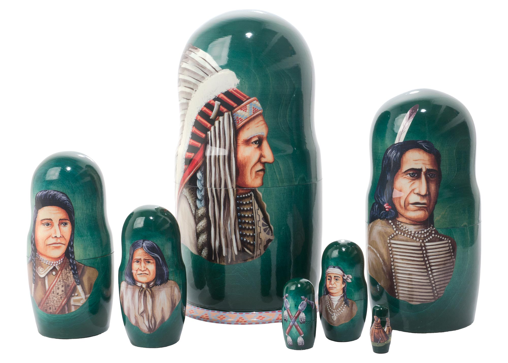 "Buy Indian Chiefs Nesting Doll 7pc./8"" at GoldenCockerel.com"