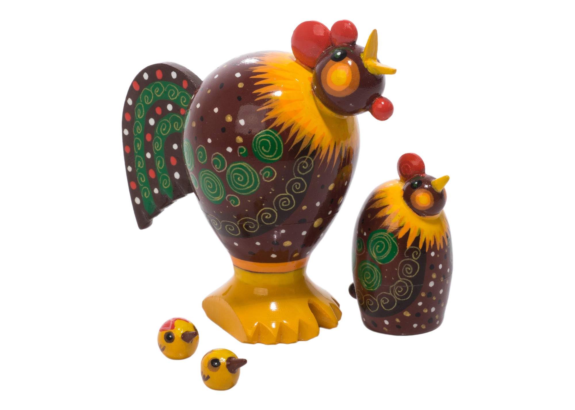 "Buy Realistic Rooster & Hen Doll 4pc./3"" at GoldenCockerel.com"