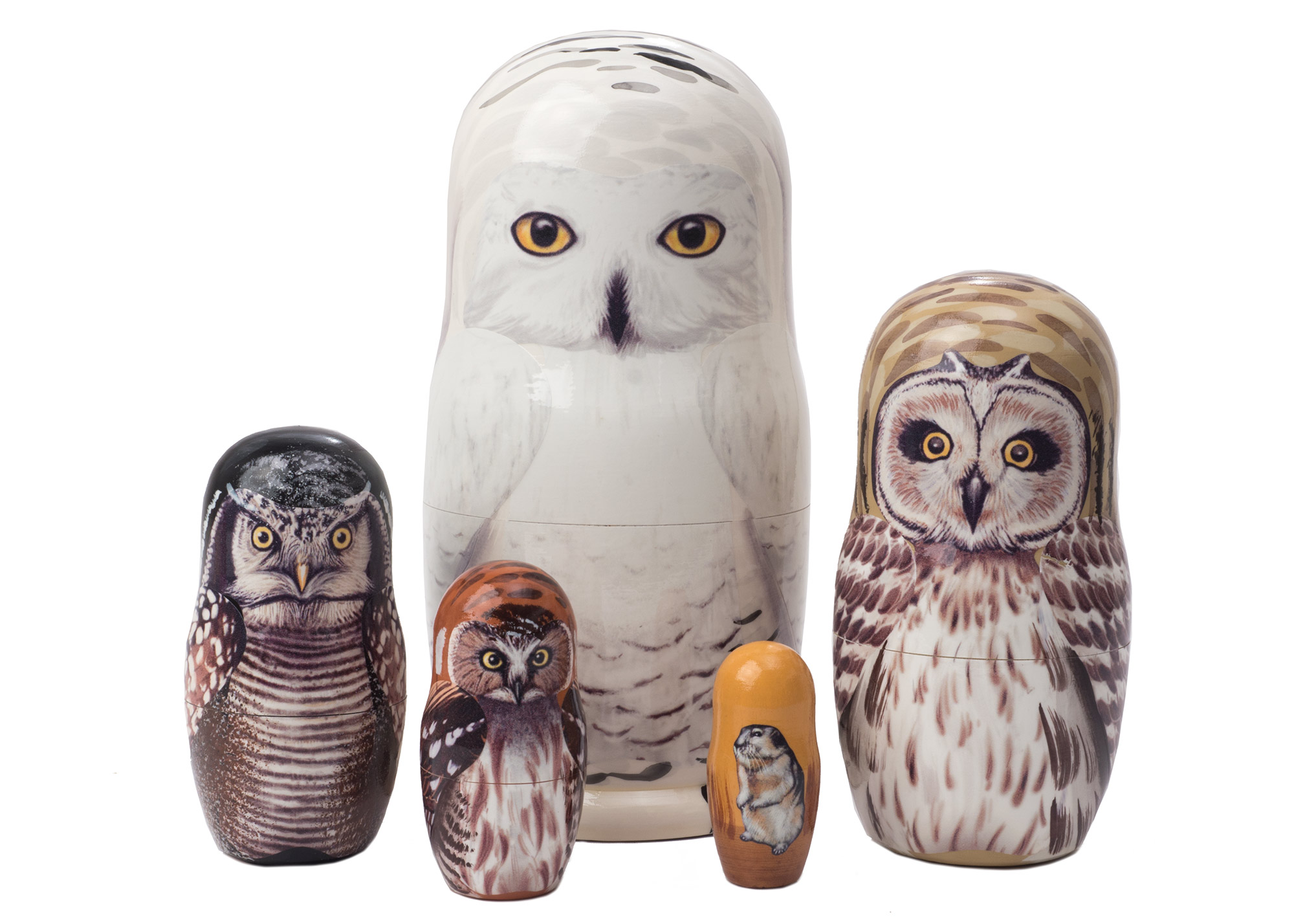 "Buy Snowy Owl Nesting Doll 5pc./6"" at GoldenCockerel.com"