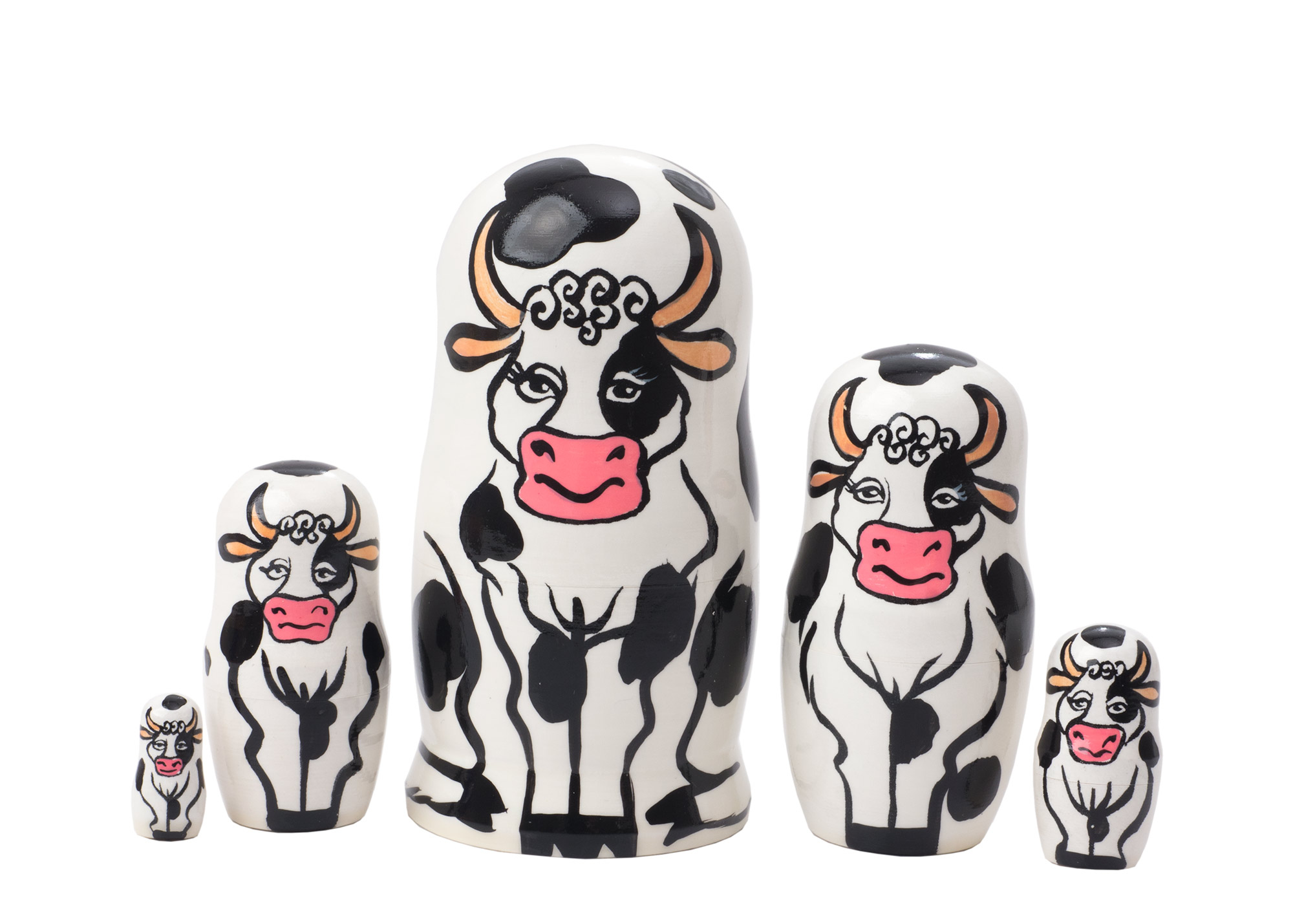 "Buy Holstein Cow Nesting Doll 5pc./4""  at GoldenCockerel.com"