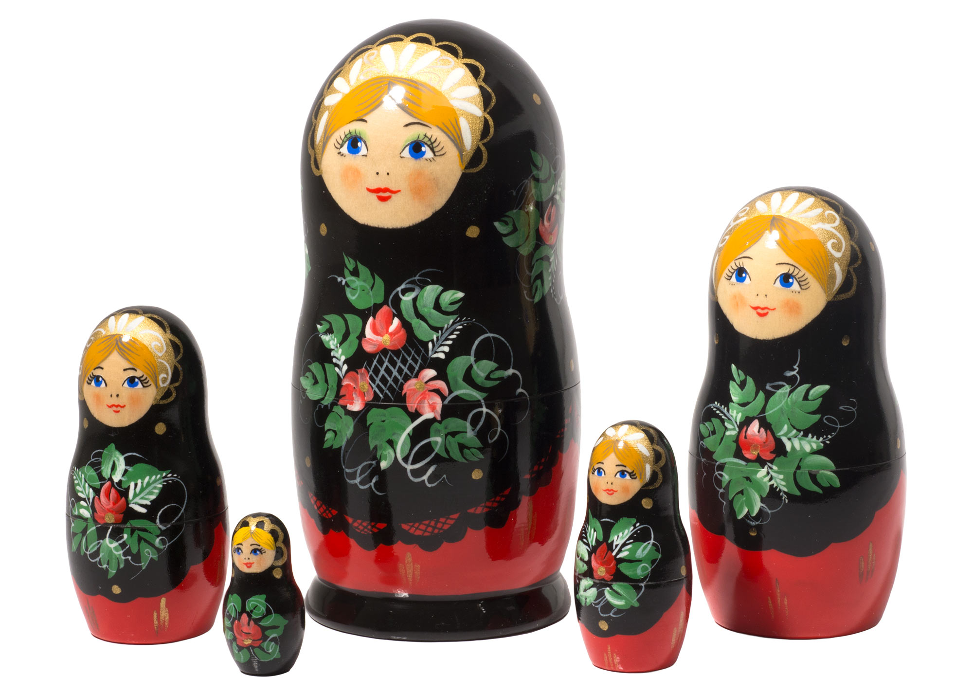 "Buy Red & Black Classical Nesting Doll 5pc./6"" at GoldenCockerel.com"
