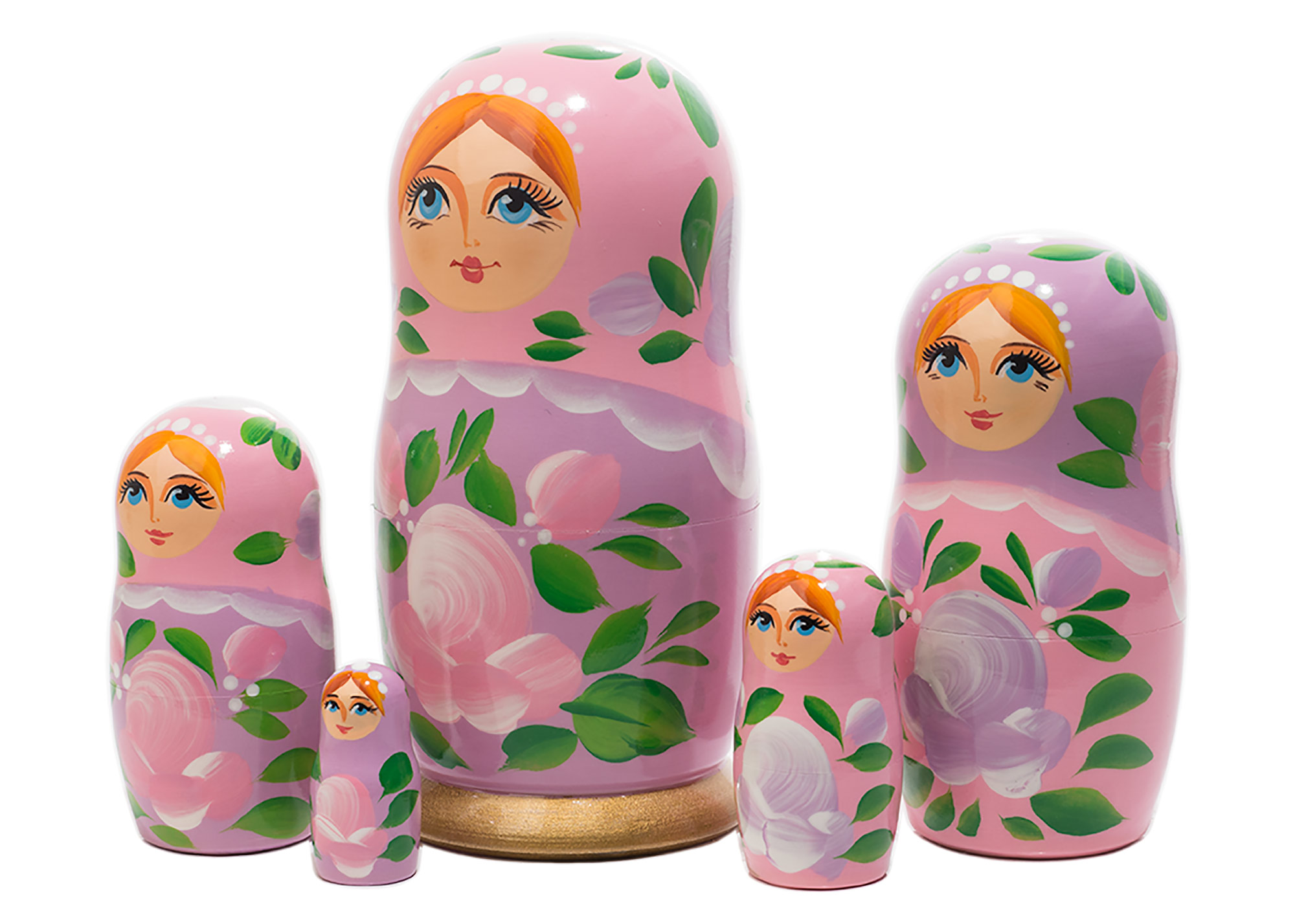 "Buy Pink Classical Nesting Doll 5pc./6"" - Russian Doll Inside A Doll at GoldenCockerel.com"