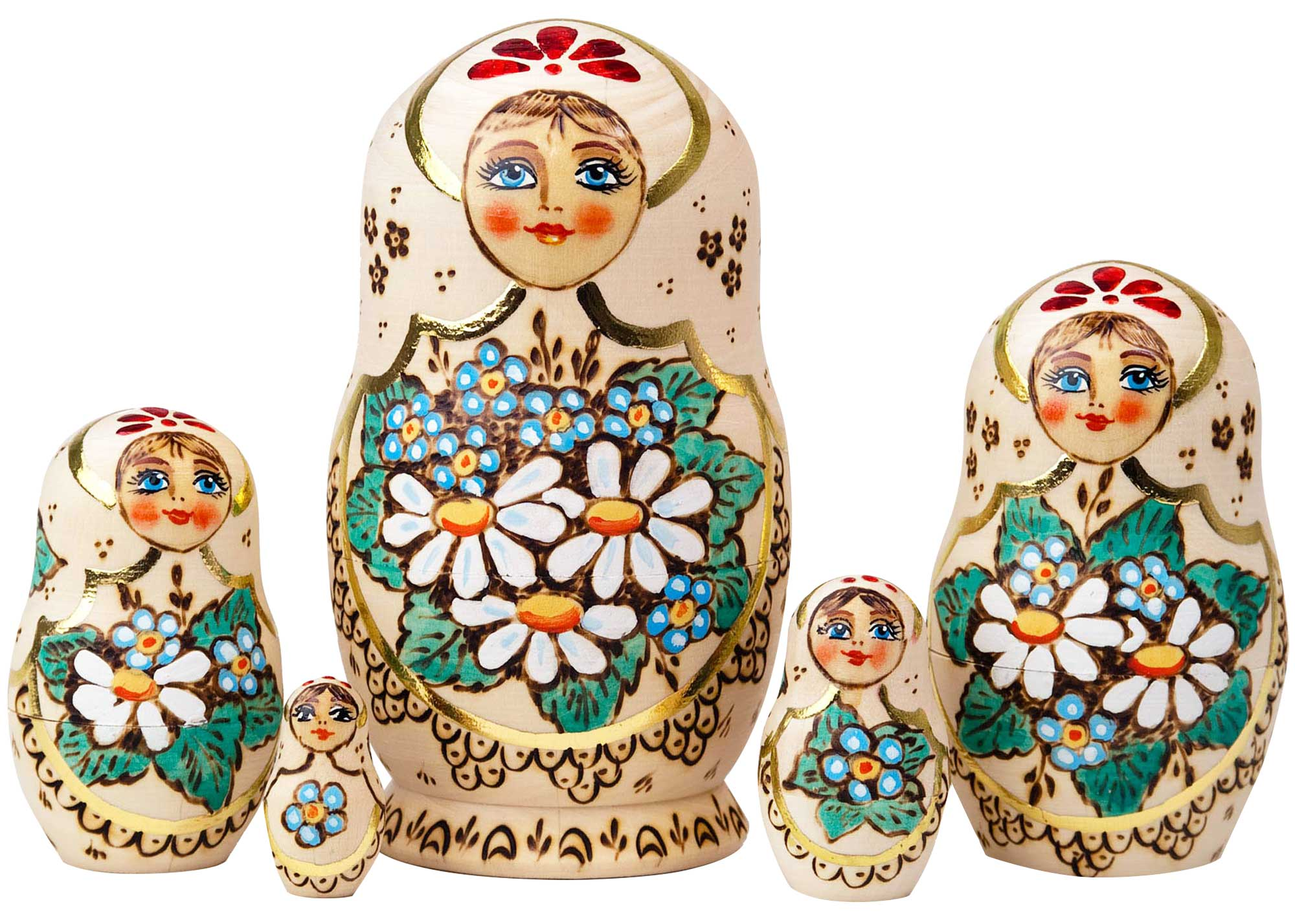 "Buy Woodburned Nesting Doll Daisies 5pc./7"" at GoldenCockerel.com"