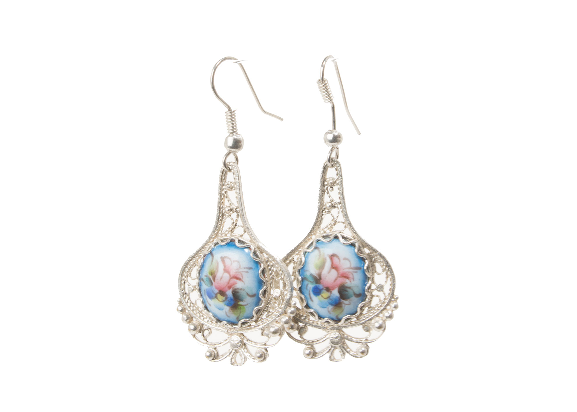 Buy Finift Blue Cupola Earrings at GoldenCockerel.com