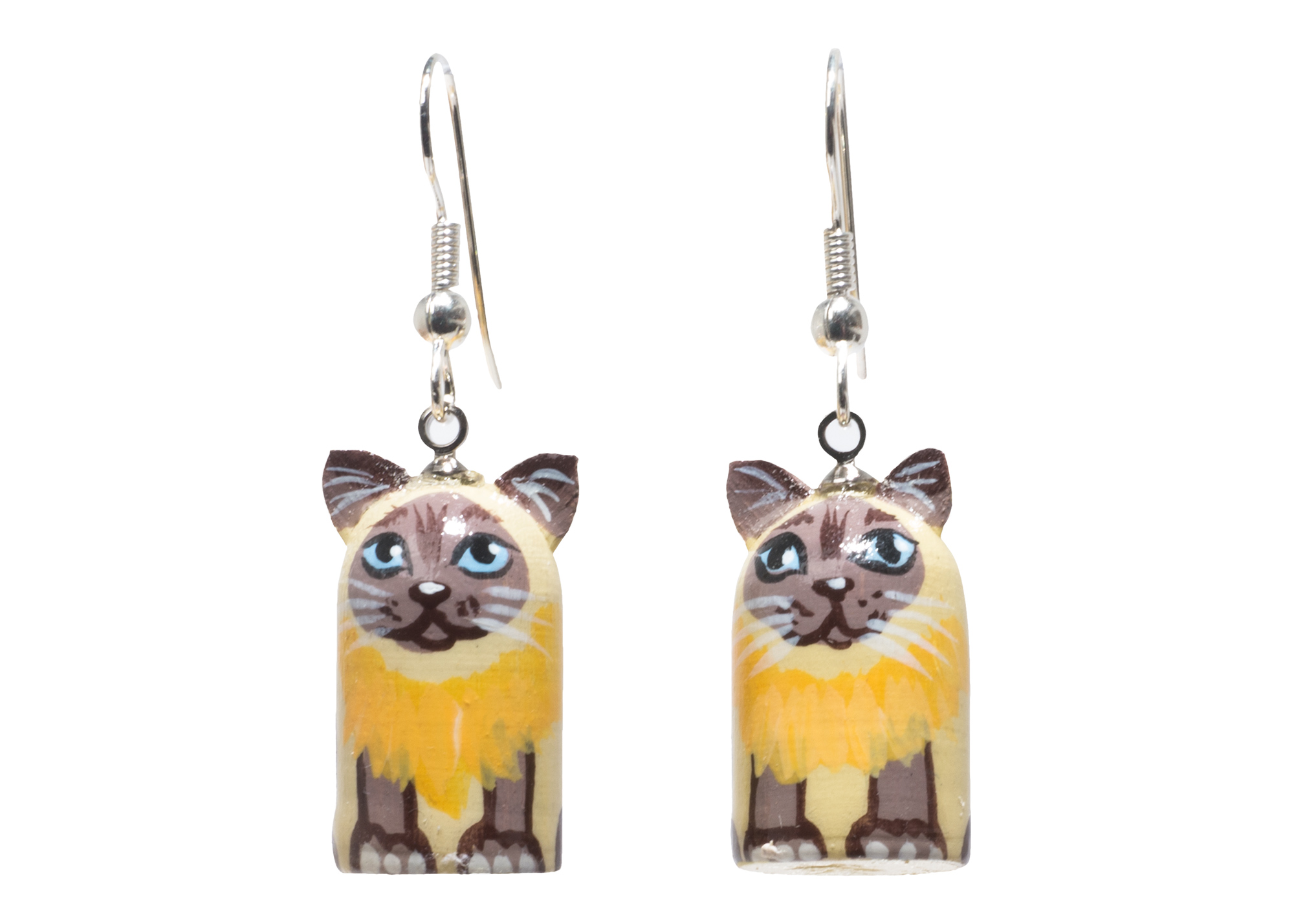 "Buy Realistic Cat Novelty Earrings .5""x.8"" at GoldenCockerel.com"