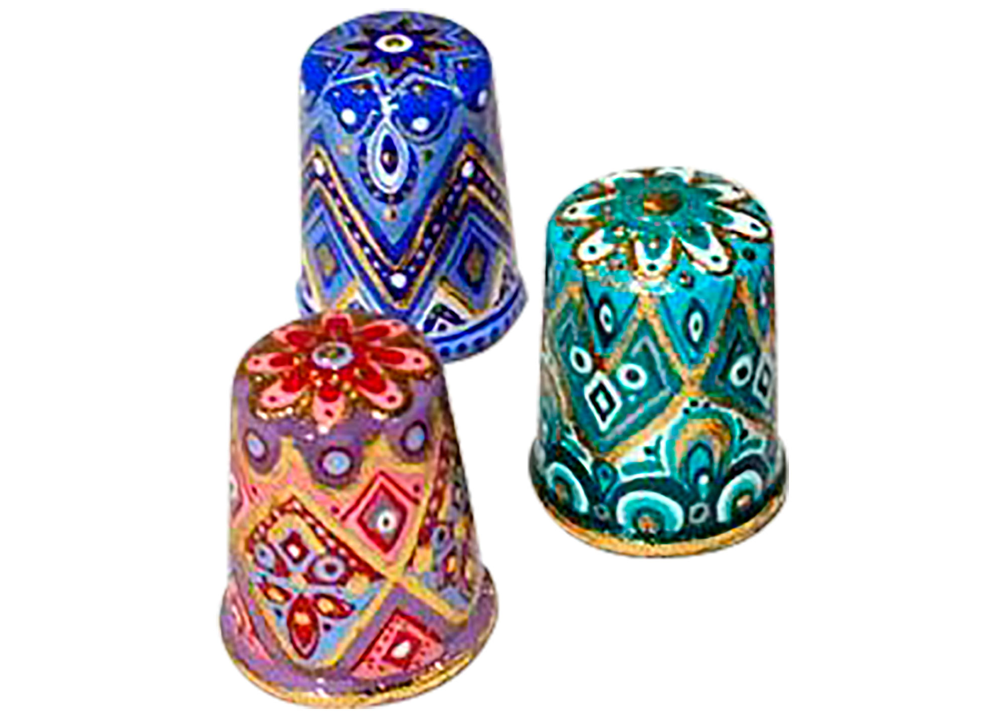 "Buy Set of 3 Harlequin Thimbles, Wood 1"" at GoldenCockerel.com"