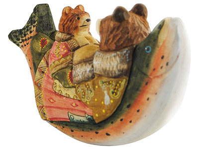 "Buy Bedtime Story' Bears Wood Carving 9"" at GoldenCockerel.com"