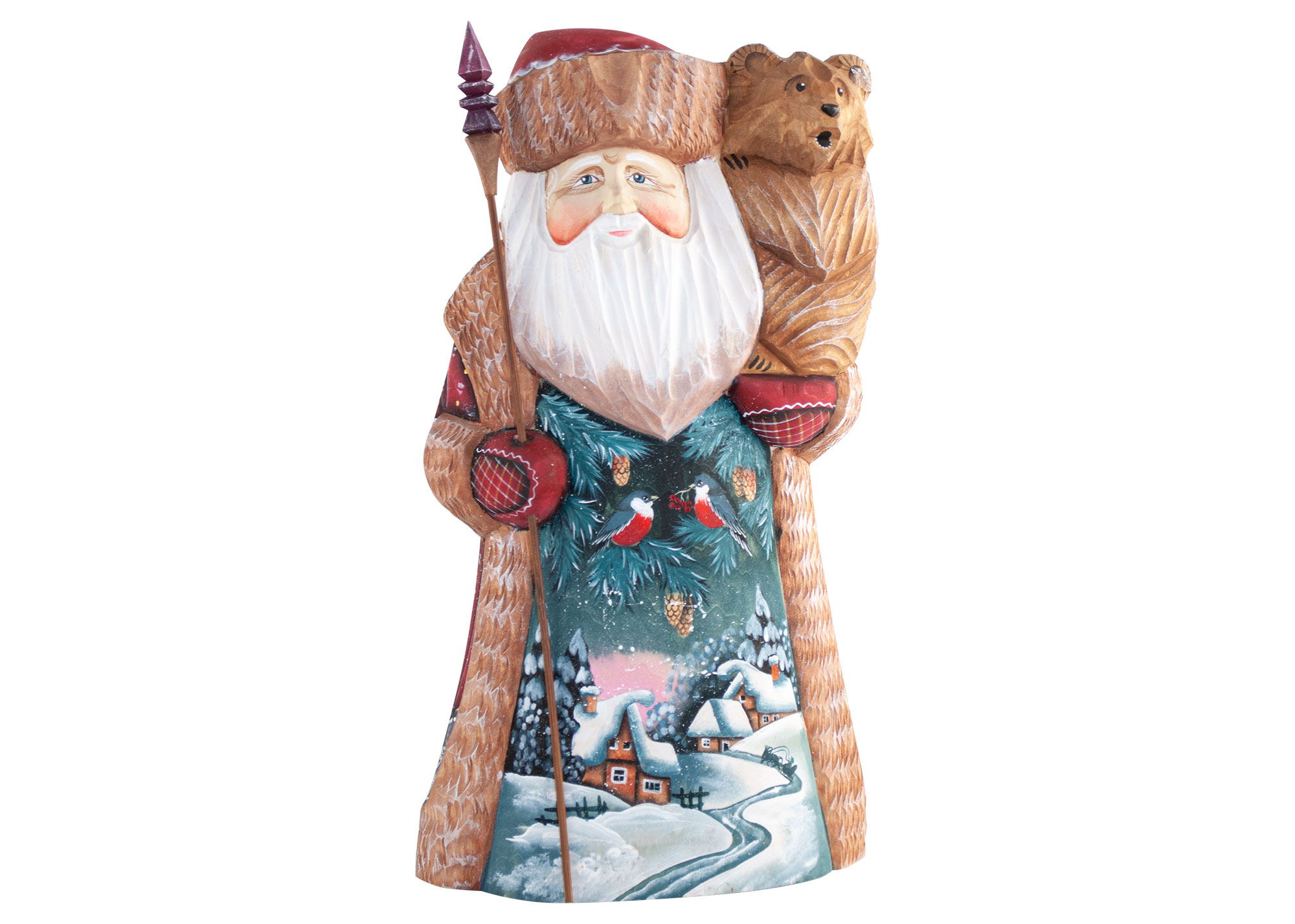 Buy Father Frost Christmas Village holding Bear Cub at GoldenCockerel.com