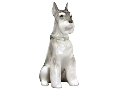 "Buy Sitting Miniature Schnauzer 'Nora' Porcelain Dog Figurine 3.5"" at GoldenCockerel.com"
