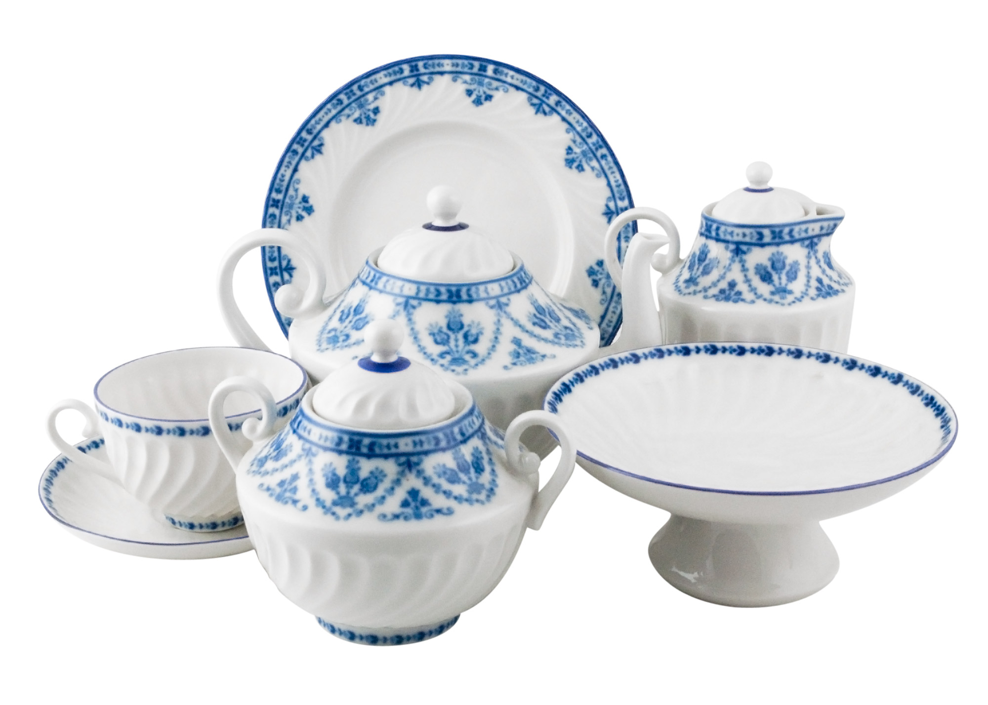 Buy Cobalt Frieze Tea & Coffee Set remnants at GoldenCockerel.com
