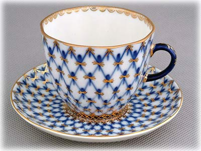 Buy Cobalt Net Coffee Cup and Saucer at GoldenCockerel.com