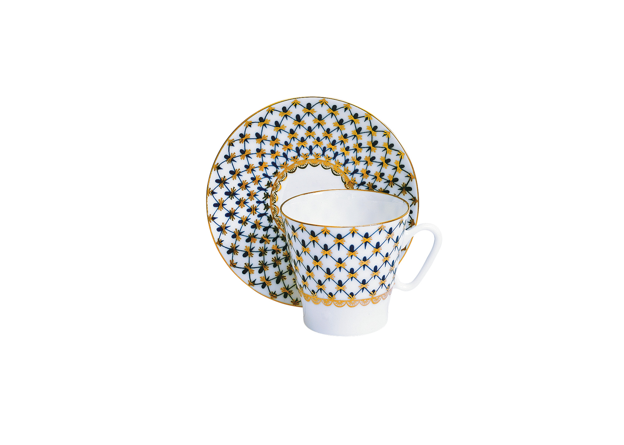 Buy Cobalt Net Bone China C/S Black Coffee-shape at GoldenCockerel.com
