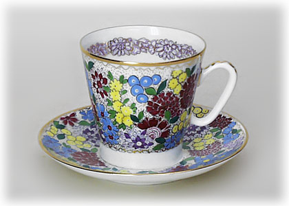 Buy Spring Flowers Cup and Saucer, Bone, Black Coffee Shape at GoldenCockerel.com