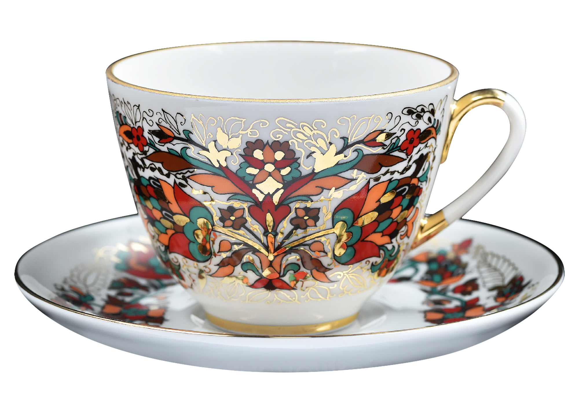 Buy Red and Gold Rooster Cup and Saucer at GoldenCockerel.com