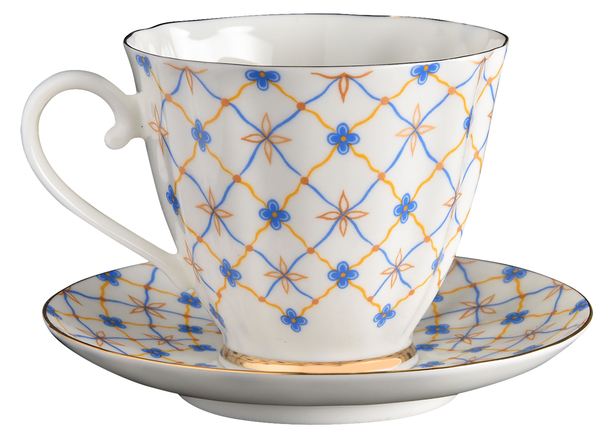 Buy Blue Carnation Retro Bone China Coffee Cup and Saucer at GoldenCockerel.com