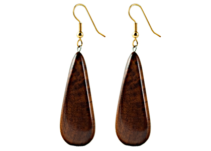 Black Sea Earrings Wooden Brown Teardrop