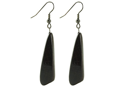 Black Sea Wooden Earrings Asymmetrical Dark Approx